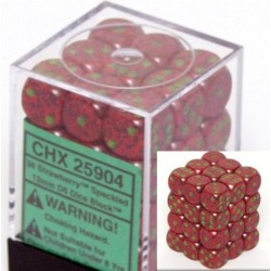 Speckled 12mm d6 Strawberry Dice Block (36 dados)