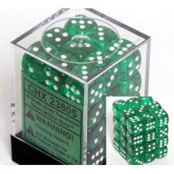 Translucent 12mm d6 Green/white Dice Block (36 dados)