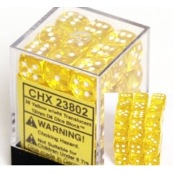 Translucent 12mm d6 Yellow/white Dice Block (36 dados)