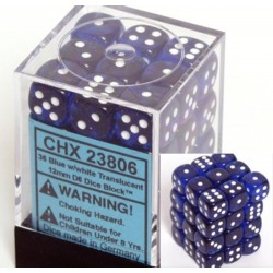 Translucent 12mm d6 Blue/white Dice Block (36 Dados)