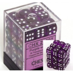 Translucent 12mm d6 Purple/white Dice Block (36 Dados)