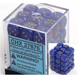 Velvet Dice12mm d6 Blue/gold Dice Block (36 dados)