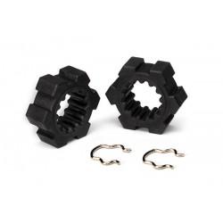 Wheel hubs, hex (2)/ hex clips (2) XMAXX